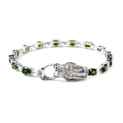 Russian Diopside (Ovl), White Topaz  Dragon Head Bracelet (Size 7) in Rhodium Overlay Sterling Silve