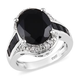 7.50 Ct Boi Ploi Black Spinel and Zircon Classic Ring in Platinum Plated Silver