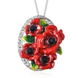 Poppy Design Black and White Austrian Crystal Poppy Flowers Pendant with Chain 20 Inch