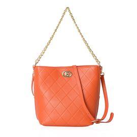 100% Genuine Leather Orange Colour Shoulder Bag with Removable Shoulder Strap (Size 27x20.5x25x13 Cm