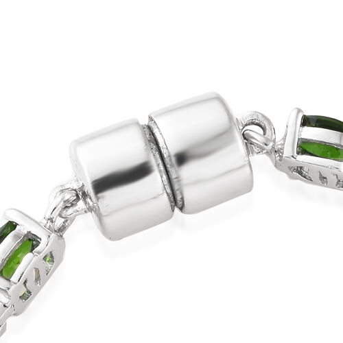 Signature Collection- Russian Diopside (Ovl), Natural Cambodian Zircon Bracelet (Size 7.5) in Platinum Overlay Sterling Silver 12.250 Ct, Silver wt: 12.72 Gms.