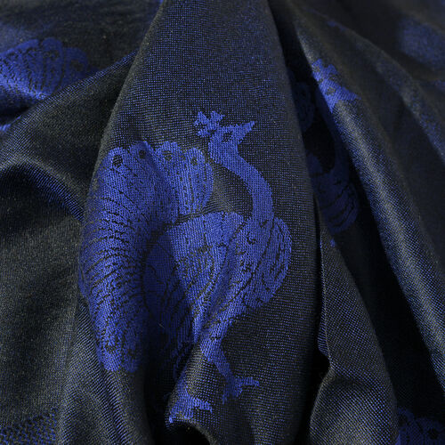 SILK MARK - 100% Superfine Silk Navy, Blue and Purple Colour Peacock Pattern Jacquard Jamawar Scarf with Fringes (Size 180x70 Cm) (Weight 125-140 Grams)