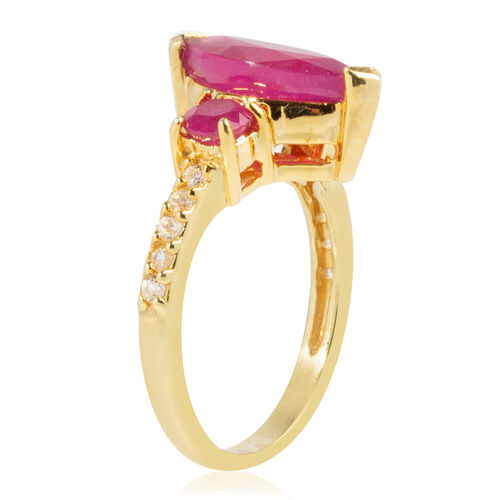 African Ruby (Mrq 3.10 Ct), Natural White Cambodian Zircon Ring in Sterling Silver 3.300 Ct.