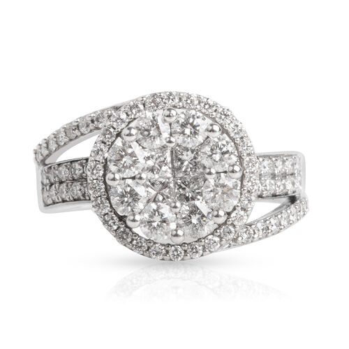 New York Close Out- 14K White Gold Diamond (Princess and Round) (I1-I2/G-H) Ring 1.500 Ct, Gold wt 6.00 Gms.