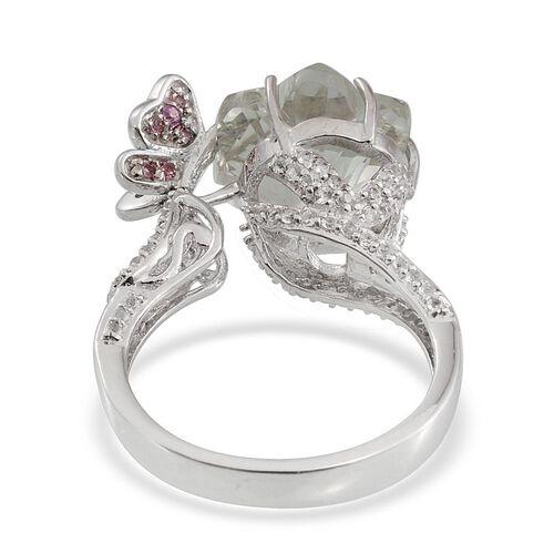 GP Green Amethyst, Pink Tourmaline, White Topaz and Kanchanaburi Blue Sapphire Ring in Platinum Overlay Sterling Silver 7.250 Ct.