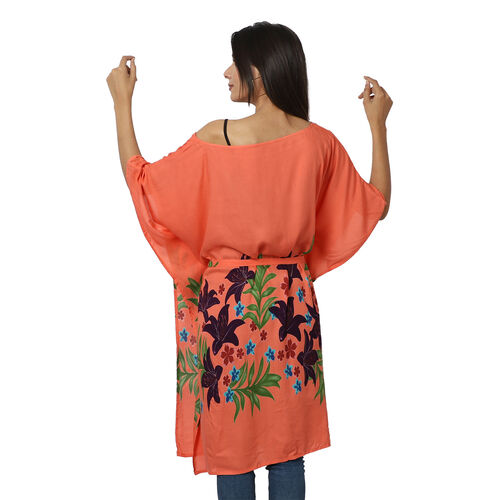 Floral printed Kaftan with Waist Belt  (Size S to XXL 91x105cm)  - Coral