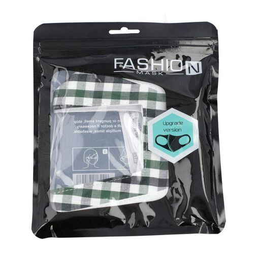 Gingham Pattern Reusable Two layer Face Cover with Transparent Window (Size 24x14 Cm) - Green