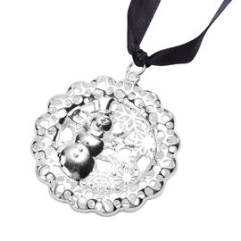 RACHEL GALLEY Simulated Pearl Snowman Baubles Charm in Silver Tone
