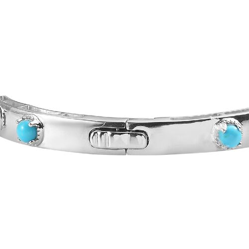 Arizona Sleeping Beauty Turquoise Bangle (Size 7.5) in Platinum Overlay Sterling Silver 4.36 Ct, Silver wt. 19.75 Gms