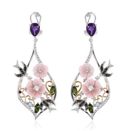 Jardin Collection - Pink Mother of Pearl, Amethyst, Natural White Cambodian Zircon and Multi Gemston