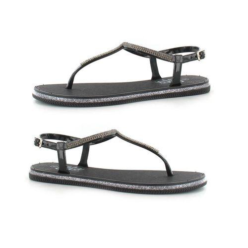 Ella Winnie Diamante Toe Post Sandals (Size 4) - Black