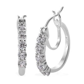J Francis - Platinum Overlay Sterling Silver (Rnd) Hoop Earrings (with Clasp) Made with SWAROVSKI ZIRCONIA