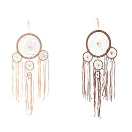 Home Decor - Set of 2 Dream Catcher Wall Hanging - Off White and Coffee Colour