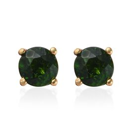 Russian Diopside (Rnd) Stud Earrings (with Push Back) in 14K Gold Overlay Sterling Silver 1.000 Ct.
