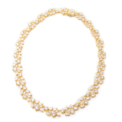 Lustro Stella Simulated Diamond Necklace (Size 18) in Yellow Gold Overlay Sterling Silver, Silver wt