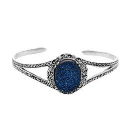 Royal Bali Drusy Cobalt Blue Cuff Bangle in Sterling Silver 15.66 Grams 7.5 Grams
