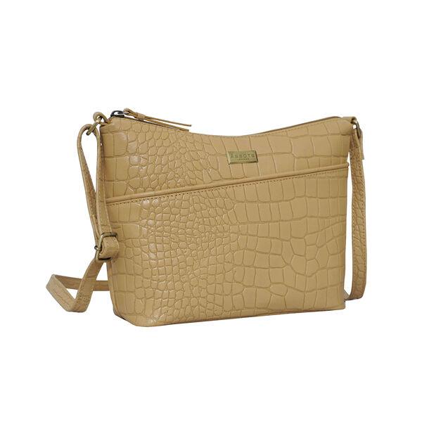 Assots London CAROL Croc Embossed Leather Crossbody Bag with Adjustable Shoulder Strap (Size 29x21x9cm) - Camel
