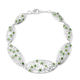 LucyQ Victorian Era Collection - AA Russian Diopside Bracelet (Size 8) in Rhodium Overlay Sterling S