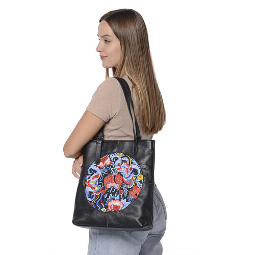 100% Genuine Leather Multi Colour Embroidery Pattern Shoulder Bag with External Zipper Pocket (Size 30x13x35) - Black