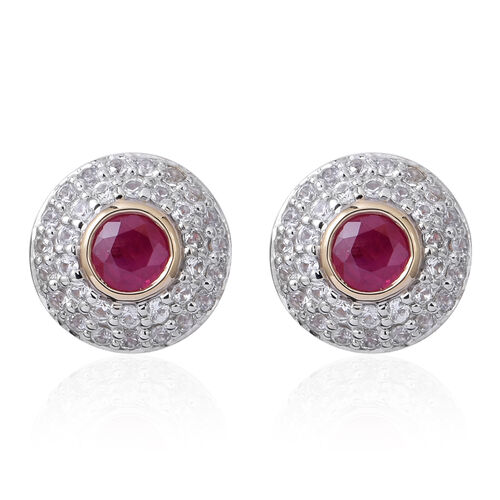 9K Yellow Gold Burmese Ruby (Rnd), Natural White Cambodian Zircon Earrings (with Push Back) 3.150 Ct