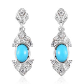 1.09 Ct Arizona Sleeping Beauty Turquoise and Zircon Drop Earrings in Platinum Plated Silver