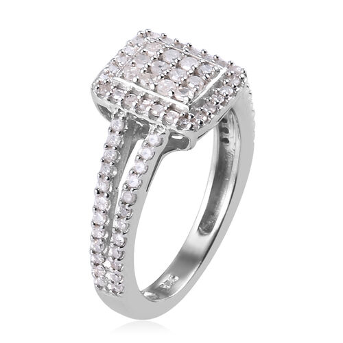 Diamond Ring in Platinum Overlay Sterling Silver 0.50 Ct.