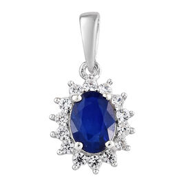 Blue Spinel (Ovl), Natural White Cambodian Zircon Pendant in Platinum Overlay Sterling Silver 1.150 Ct.