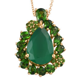 6.8 Ct Verde Onyx and Russian Diopside Halo Pendant with Chain in Gold Plated Sterling Silver