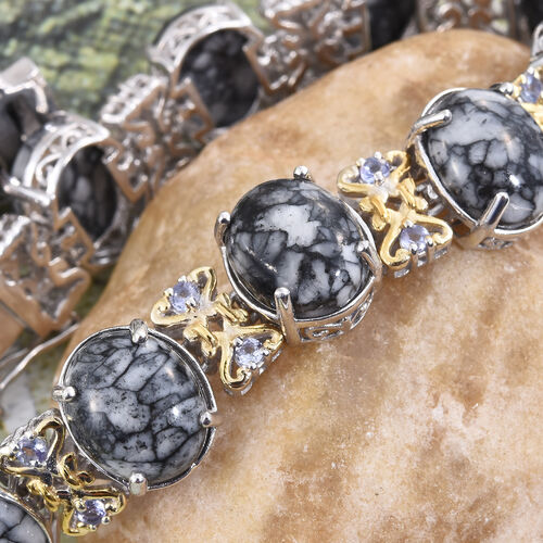 Austrian Pinolith (Ovl), Tanzanite Bracelet (Size 7.75) in Platinum and Yellow Gold Overlay Sterling Silver 61.500 Ct.