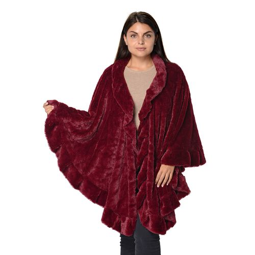 Super Soft Faux Fur Free Size Wrap with Loose Silhouette with Ruffle Border (L-70 Cm) - Wine Red
