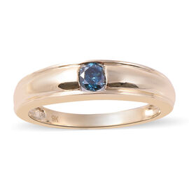 9K Yellow Gold Blue Diamond (Rnd) Ring 0.25 Ct.