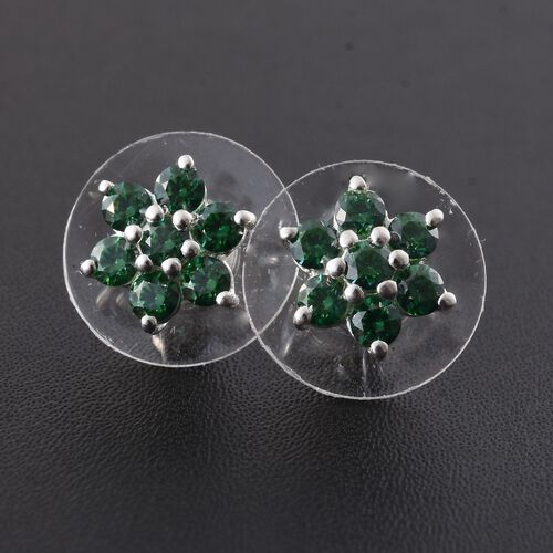 J Francis - Sterling Silver (Rnd) Floral Stud Earrings (with Push Back) Made with Green SWAROVSKI ZIRCONIA