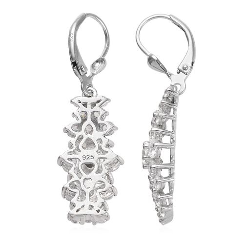 J Francis - Platinum Overlay Sterling Silver (Rnd) Cluster Earrings (with Lever Back) Made with SWAROVSKI ZIRCONIA 6.070 Ct.