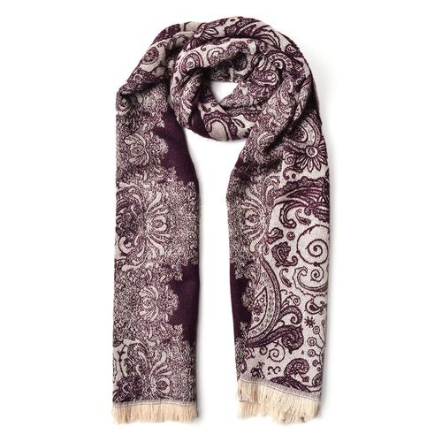 Designer Inspired  Red and Cream Colour Paisley Pattern Scarf with Tassels (Size 180X65 Cm)
