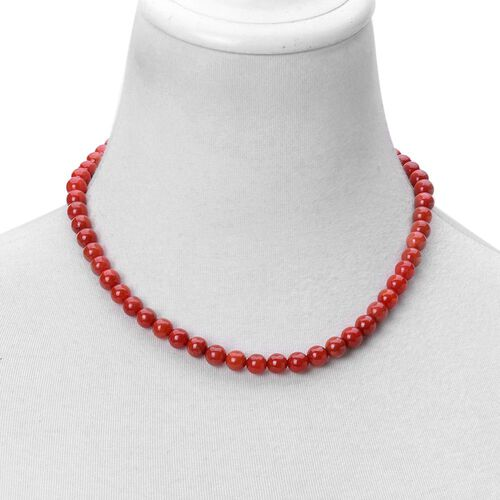Red Burmese Jade Ball Beads Necklace (Size 18) with Magnetic Clasp in Rhodium Plated Sterling Silver 247.000 Ct.