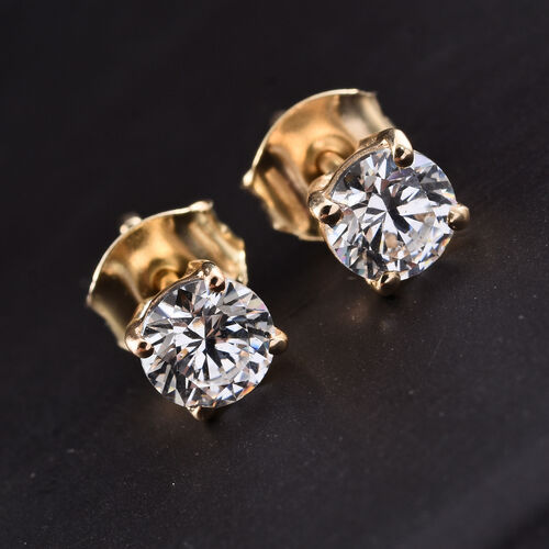 J Francis - 9K Yellow Gold Stud Earrings (with Push Back) Made with SWAROVSKI ZIRCONIA
