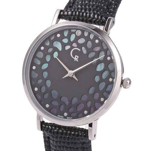 RACHEL GALLEY Diamond Studded Swiss Movement Watch With Embossed Genuine Leather Strap, Lattice Detail MOP Dial And Sapphire Glass Cover With Stainless Steel Back And 5 ATM Water Resistancy (Black)