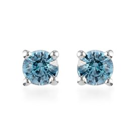 Ratanakiri Blue Zircon Stud Earrings (with Push Back) in Sterling Silver