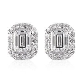 J Francis Made with SWAROVSKI ZIRCONIA Stud Earrings in Platinum Plated Sterling Silver