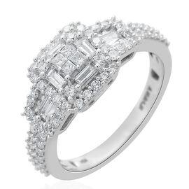 ILIANA 1 Carat Diamond Cluster Ring in 18K White Gold 4.69 Grams IGI Certified SI GH