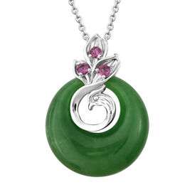 Green Jade and Rhodolite Garnet Circle Pendant With Chain in Rhodium Plated Silver 18 Inch