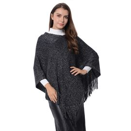 Close Out-Black Colour Poncho with Tassels (Size 80x65 Cm)