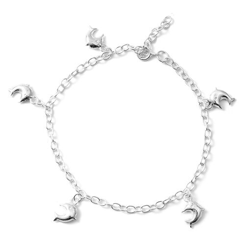 Thai Sterling Silver Collection Sterling Silver Adjustable Charm Bracelet (Size 7.5 and 1 inch Exten