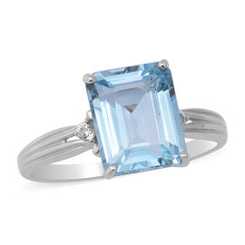 Skyblue Topaz , White Topaz Ring in Rhodium Overlay Sterling Silver 4.10 ct  4.100  Ct.