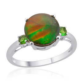 Tucson Collection Canadian Ammolite (Rnd 2.25 Ct), Russian Diopside Ring in Platinum Overlay Sterlin