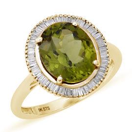 9K Yellow Gold Hebei Peridot (Ovl 12x10 mm), Diamond Ring 5.06 Ct.