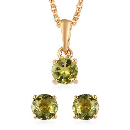 2 Piece Set - Hebei Peridot Pendant with Chain (Size 18) and Stud Earrings (with Push Back) in 14K G