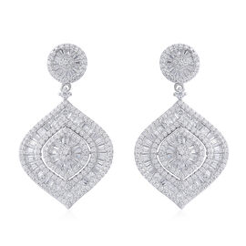 Designer Inspired-ELANZA Simulated Diamond (Rnd) Earrings (with Push Back) in Rhodium Overlay Sterling Silver, Silver wt 9.00 Gms