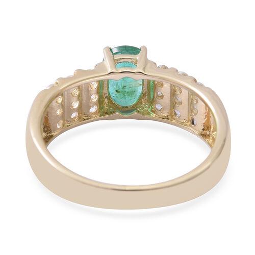 9K Yellow Gold AAA Kagem Zambian Emerald (Ovl 7x5 mm), Natural Cambodian White Zircon Ring 1.400 Ct.