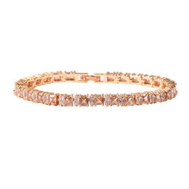 Simulated Champagne Colour Diamond and Simulated Diamond Tennis Bracelet in Gold Tone 7 Inch